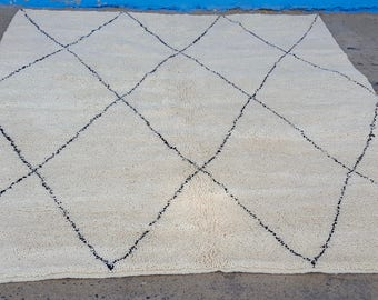 Moroccan rug Beni Ourain rug handmade 100% wool rug 10 x 8 feet
