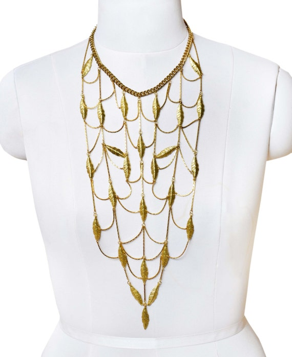 Victorian Gold Leaf Statement Contemporary Necklace