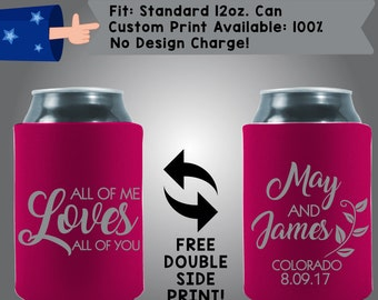 All of Me Loves All of You Names State Date Collapsible Fabric Wedding Cooler Double Side Print (w66)