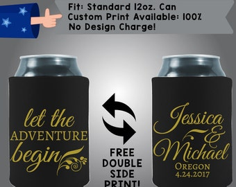 Let the Adventure Begin Names State Date Collapsible Fabric Wedding Cooler Double Side Print (w69)