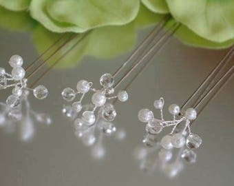 Set of three ivory pearl and clear crystal hair pins Wedding Prom Party