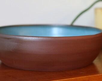 Large turquoise modern serving bowl