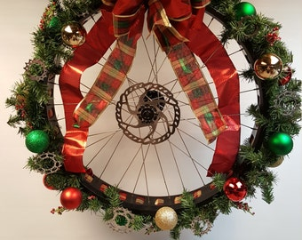 Fat tire bicycle wheel holiday wreath