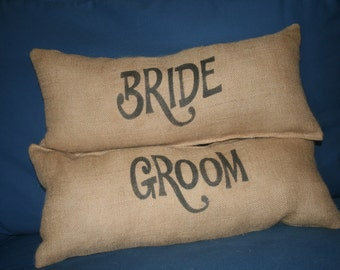 "Bride/Groom  18"" x 8"" Sultana Burlap Pillow"