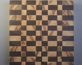 Ambrosia Maple and Walnut End-Grain Butcher Block Cutting Board - Hand-Made in USA