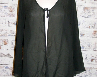 Size 16 vintage 90s flared long sleeve tie evening jacket sheer black (GT51)