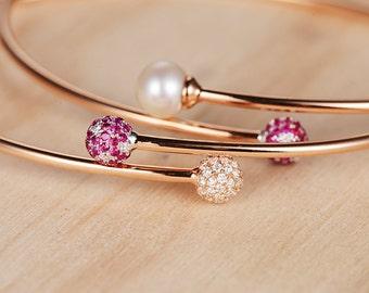 Cuff Bracelet Ruby Diamond Friendship Unique Open Rose Gold Bead Anniversary Multi Stone Initial Pearl Bracelet Women