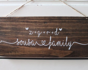 Family love custom rustic wood hanging sign distressed hand painted valentine's day anniversary gift mother's day father's day last name