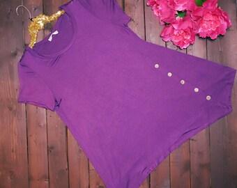 PLUS SIZE - Purple Button Top