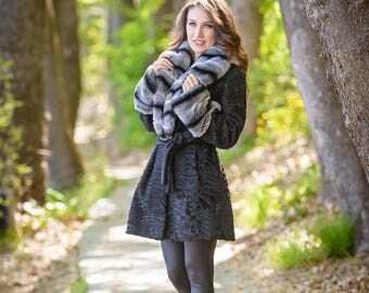 Swakara fur with rex collar! Latest fur fashion trends at FurBrand!End of Season sales 50% discount!