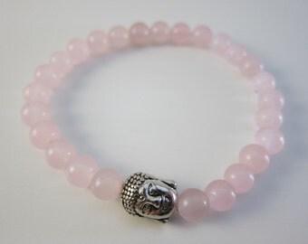 Rose Quartz Buddha Bracelet | Beautiful Gemstone Stretchy Bracelet