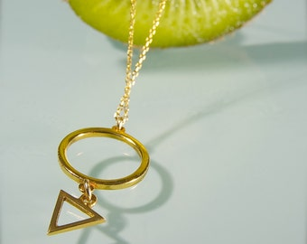 Karma necklace, sterling silver,triangle,geometric necklace,gift for her, gift for sister, minimalist