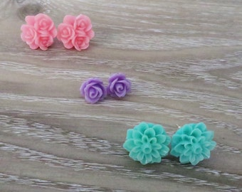 Set of Three Gorgeous Flower Earrings