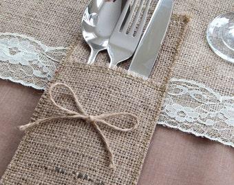 Rustic Burlap Cutlery Holders, Rustic Wedding Table Cutlery, Burlap Silverware Pocket, Hessian Silverware, Cutlery Pouches