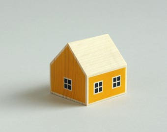 Wooden scandinavian Tiny House Nordic style, natural wood, construction toy, yellow color silk-screened, children gift, made in France Paris