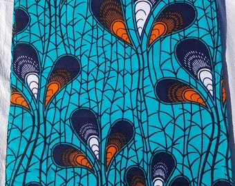 Teal Ankara Fabric; African Clothing; African Fabric; African Fabric in yard; African Headwrap;African Fashion: Ankara Fabric in yard