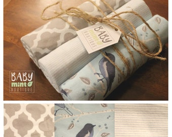 Oversized receiving blanket, 3 pack, modern gender neutral print, large receiving blanket, hemmed edge, multipack, woodland animals