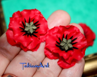 Poppies.  2 pcs. Red Chabochon  Handmade Polymer clay Flower Poppy Jewelry Supplyes .