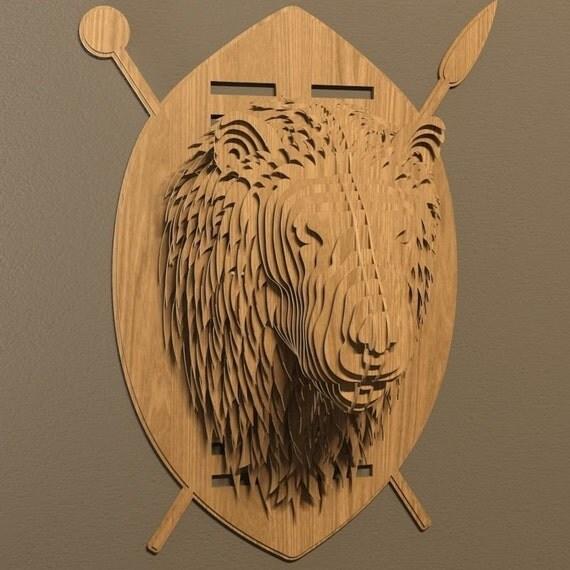 Lion Head Plan Vector File Cnc Decoration Decorative Art