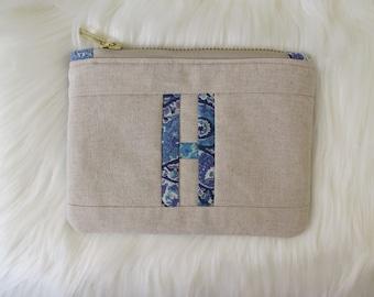 Alphabet pouch | Initial pouch | Liberty Print + Linen | coin pouch | utility pouch