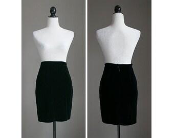 Vintage Velvet Pencil Mini Skirt