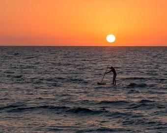 Landscape photography.  Digital file. Instant download. Paddle Boarder at Sunset