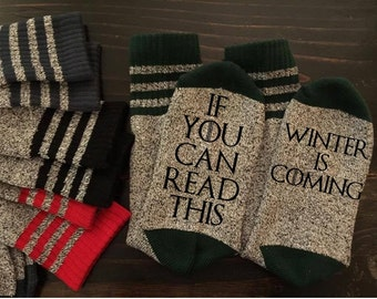Game of Thrones Inspired Thermal Socks READY TO SHIP Winter Lannister Stark GoT