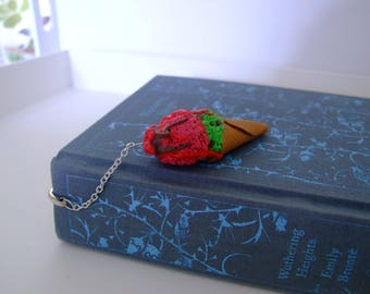 Ice Cream Bookmark, Mint Choc Chip, Raspberry, Book Lover, Polymer Clay Bookmark, Realistic Ice Cream, Readers Gift, Book Accessories