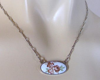 vintage french enameled flowers enamel floral charm necklace 70's