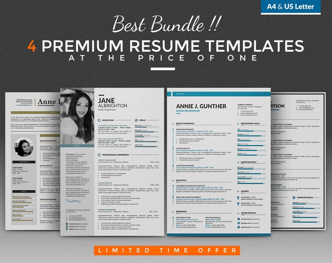 CV Template / Resume Template Bundle - 4 Creative Word Resume Design + Free Cover Letter, A4 and US Letter, for PC and Mac, Instant Download