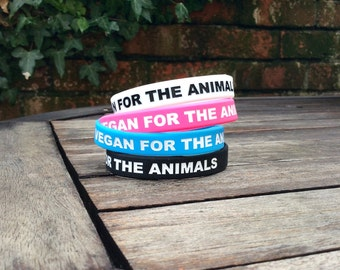 Vegan For The Animals stretchy wristbands
