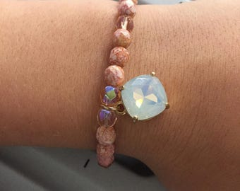 Crystal and bead bracelet with stone charm