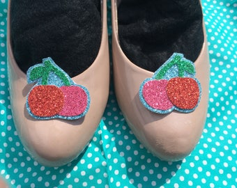 Glitter cherry shoe clips