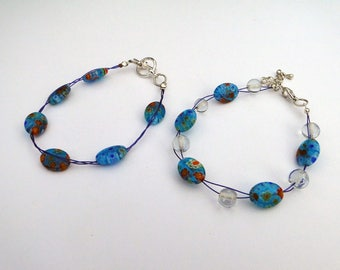 Blue glass lampwork beaded bracelet