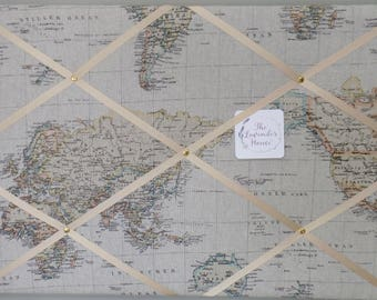 Vintage style World map / nautical photoboard with brass fastenings and cream ribbon, a gift for him