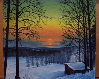 Winter Sunset - Oil Painting