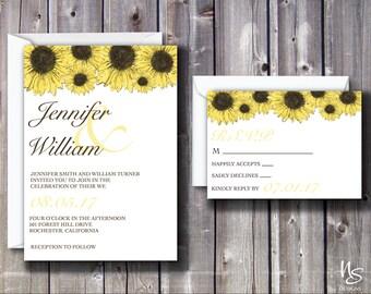 White, Sunflower Printable Wedding Invitation & RSVP