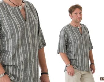 Bohemian Clothes for Men- Linen Shirt Men- Boyfriend Shirt- Gift for Boyfriend- Black Linen Clothing for Men- Gift for Husband, Dad