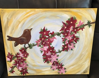 Bird on Flower Branch Painting