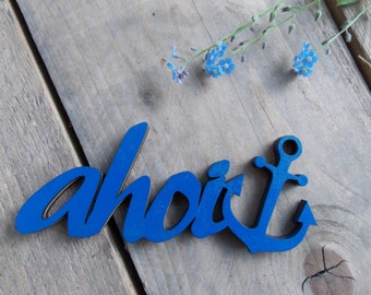 "3D - lettering ""ahoi"" - Typo, decoration, hard fiber"