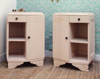 Pair of pale pink and gold art deco nightstands
