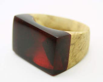 Wood Ring, Resin and Wood Ring, Cocktail Ring, Gift for Her, Boho jewelry resin and wood jewelry, Wooden ring, Resin Ring, Statement Ring
