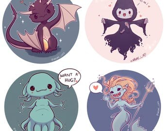 Magical Creatures Stickers, Golden Snitch, Monster book of..., Hippogriff, Prof. McGonagall, Whomping Willow, Dementor.