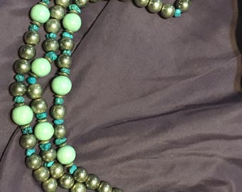 quality 3 strand large silver and turquoise beaded costume jewelry necklace