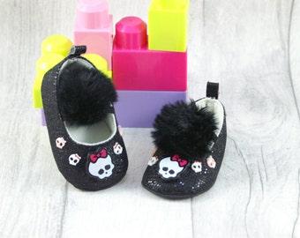 Rock Punk Baby Shoes Girl Black Skull 3-6 months