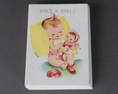 vintage 1950s baby girl birth announcement cards | deadstock