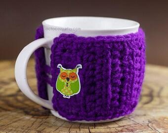 Cute Owl Button Crochet Mug Cozy, Crochet Mug Cozy, Mug Cosy (more colours available)