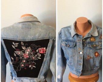 One of a kind studded denim jacket  size LG