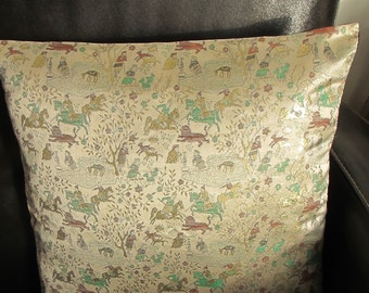 Cushion cover 40 cm x 40 Eastern hunting scene silk brocade / white red grey green