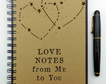 Love Notes, Writing Journal, Engagement Journal, Custom Notebook, Anniversary Journal, Spiral Notebook, Bullet Journal